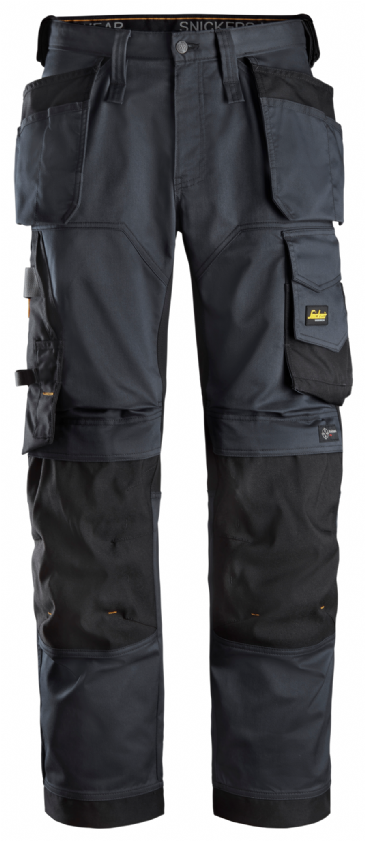 Snickers 6251 AllroundWork Stretch Loose fit Work Trousers Holster Pockets (Steel Grey/Black)